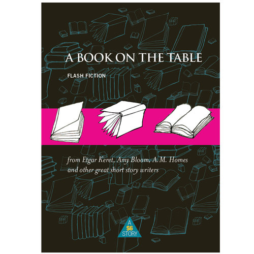 A cover of a book, with a black background with blue line drawings of books, and a pink band around the middle with black and white drawings of the same.