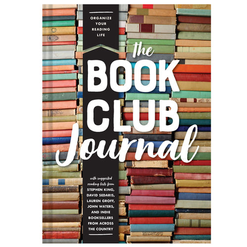 "The cover of a book with stacks of books, fronted by the title ""The Book Club Journal""."