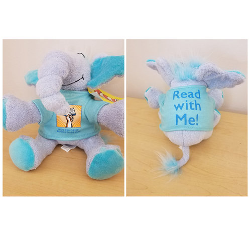 "Two photos side by side of the front and back of a plush doll of the children's book character Horton, wearing a blue Bookstore Day shirt that says ""Read with Me!"" on the back."