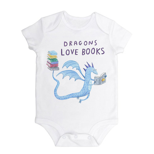 A white baby onesie with an illustration of a blue dragon reading a book, carrying a stack of books on it's tail.