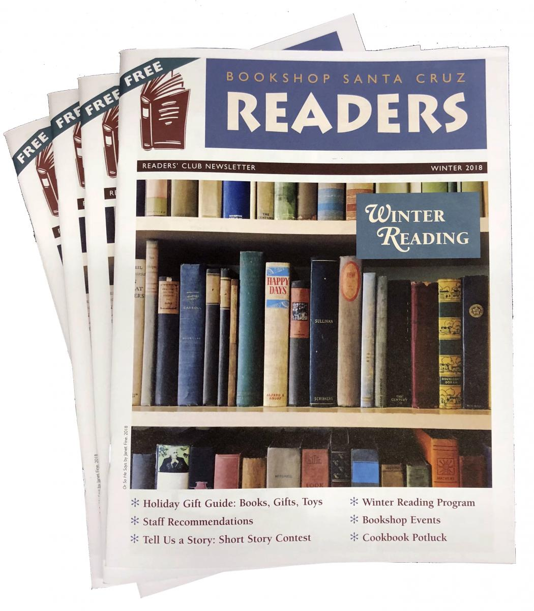 A fanned stack of the READERS 2018 Winter issue, with a cover image of shelves of vintage hardcover books.