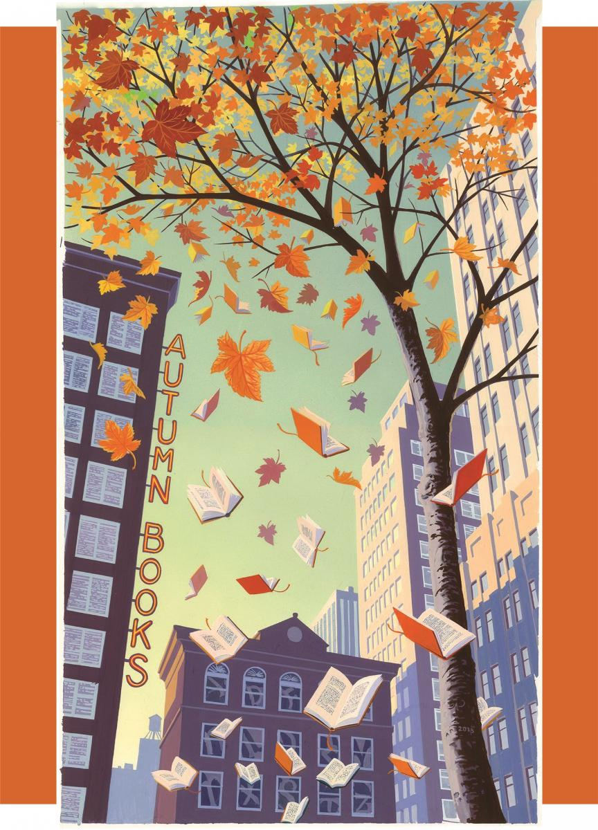 "An illustration of the tops of skyscrapers and a tall tree shedding autumn leaves from below, with a sign that reads ""Autumn Books"" along the side of one of the buildings."