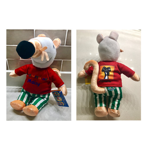 Two photos side by side, of the front and back of a plush doll of the children's book character Maisie, wearing a red Bookstore Day shirt.