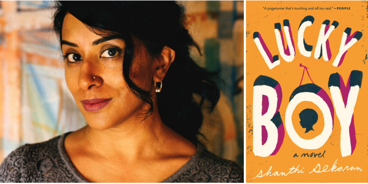 Shanthi Sekaran, smiling, next to the cover of her novel Lucky Boy