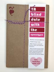 A book wrapped in brown paper, with a white, red, and pink bookmark that says YA Blind Date with the Apocalypse