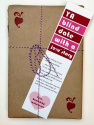 A book wrapped in brown paper, with a white, red, and pink bookmark that says YA Blind Date with a Love Story