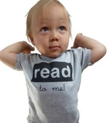 Read To Me Baby Tee--Grey/Black